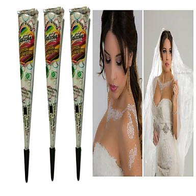 halloween 3db fehér henna kúp tatoo cső indiai ideiglenes tetoválás test festék menyasszonyi& esküvő
