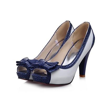 Women's Shoes Leatherette Spring / Summer Stiletto Heel Bowknot / Polka Dot Beige / Blue / Pink / Dress