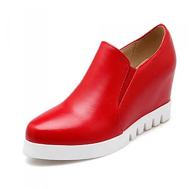 Mulheres Sapatos Courino Primavera Verão Outono Plataforma Salto Plataforma Elástico para Casual Escritório e Carreira Social Branco