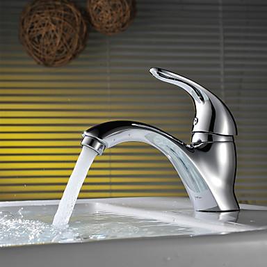 Moderna Montagem em Plataforma Válvula Cerâmica Monocomando e Uma Abertura Cromado, Torneira pia do banheiro