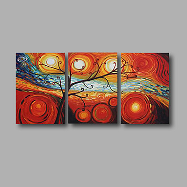 Pintados à mão Abstrato Horizontal, Modern Tela de pintura Pintura a Óleo Decoração para casa 3 Painéis