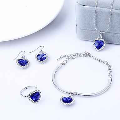 Feminino Casamento Festa Aniversário Noivado Diário Casual Cristal Anéis Brincos Colares Bracelete