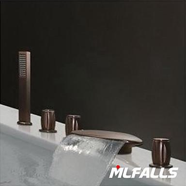 Bathroom Sink Faucet - Waterfall / Handshower Included Antique Bronze Roman Tub Three Handles Five Holes