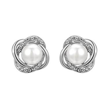 Dame Krystall Øredobber - Perle, Imitert Perle, Kubisk Zirkonium Blomst Mote Sølv / Rose Gull Til Daglig