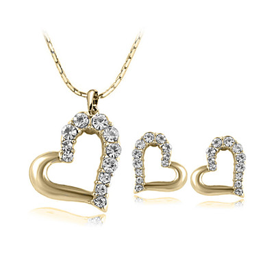 Women's Crystal Jewelry Set - Crystal Heart Include Silver / Golden For Wedding / Party / Daily / Earrings / Necklace