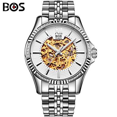 Masculino Relógio de Pulso Automático - da corda automáticamente Gravação Oca Aço Inoxidável Banda Branco marca- AngelaBOS