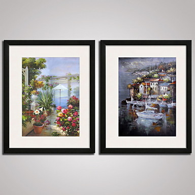 Framed The Mediterranean City Landscape Painitng Canvas Print Art Set of 2 for Wall Decoration Ready To Hang