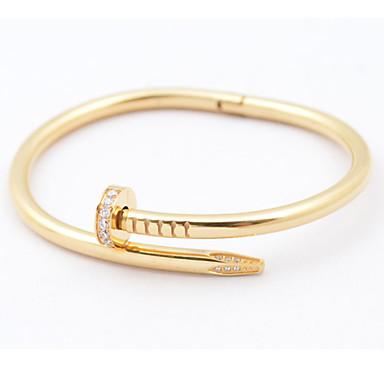 Dame Armbånd Manchetarmbånd Mode Klassisk Rustfrit Stål Rhinsten Oval form Smykker Til Bryllup Fest Daglig Afslappet Julegaver