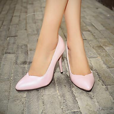 Feminino Sapatos Courino Primavera Verão Outono Salto Agulha Para Casual Social Preto Azul Rosa claro