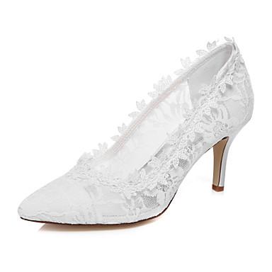Mulheres Sapatos Seda Primavera Verão Conforto Salto Agulha Ponta Redonda para Casamento Social Festas & Noite Branco