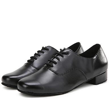 """baratos Shall We® Sapatos de Dança-Masculino Moderna Couro Salto Interior De Amarrar Salto Baixo Preto 1 """"- 1 3/4"""" Não Personalizável"""