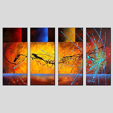billige Trykk-Trykk Abstrakt Klassisk Tradisjonell Parfymert Fire Paneler Kunsttrykk