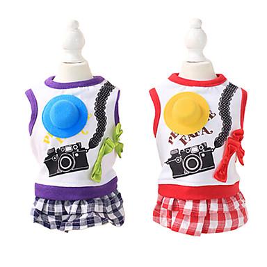 강아지 코트 강아지 의류 퍼플 레드 면 코스츔 애완 동물 여름 남성용 여성용 패션