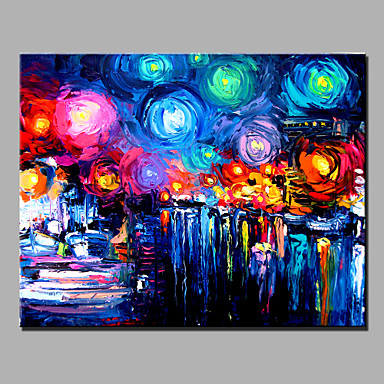 Oil Painting Modern Abstract Pure Hand Draw Ready To Hang Decorative  The  Starry Sky