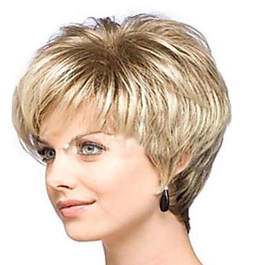Synthetische Haare Perücken Locken Kappenlos Karnevalsperücke Halloween Perücke Kurz Blond