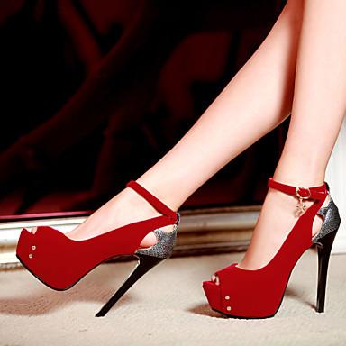 샌달 / 펌프스/힐-드레스 / 캐쥬얼 / 파티/이브닝-여성의 신발-힐 / 토오픈 / 플랫폼-레더렛-스틸레토 굽-블랙 / 블루 / 레드
