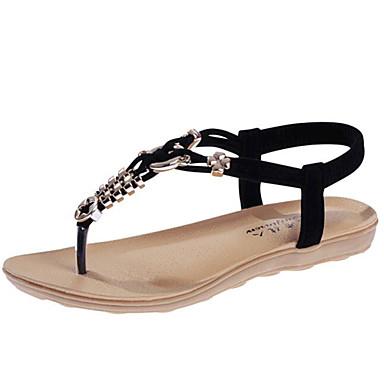 Sandaalit-Matala korko-Naisten kengät-Tyll / Tekonahka-Musta / Sininen / Beesi-Ulkoilu / Rento-Comfort