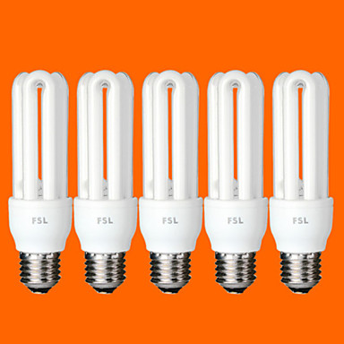 5 pcs FSL® E26/E27 T3 3U 15W 760LM 6500K Cool White Light CFL Bulbs (AC220V)