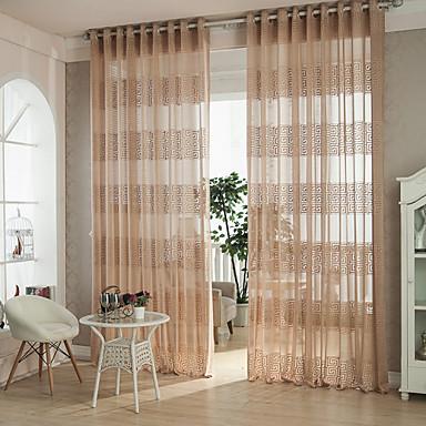 Propp Topp Blyant Plissert To paneler Window Treatment Moderne Designer Land, Hult ut Kurv Geometrisk Stue Polyester Materiale Gardiner