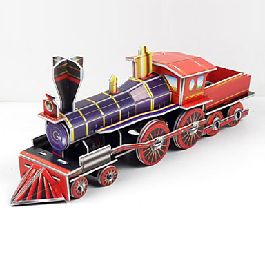 voordelige 3D-puzzels-Legpuzzels 3D-puzzels Bouw blokken DIY Toys Trein Papier Zilver / Rood Modelbouw & constructiespeelgoed