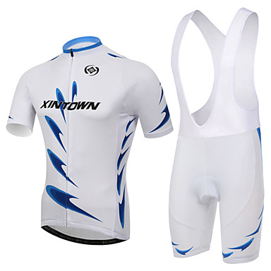 XINTOWN Kortermet Sykkeljersey med bib-shorts - Hvit Sykkel Sykkelshorts Med Seler Jersey Klessett, 3D Pute, Fort Tørring, Ultraviolet