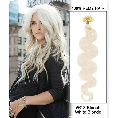 20inch # 613 valkaisuaine valkoinen vaaleita body aalto kynsien kärki u kärkeen 100% Remy hiukset keratiini hiusten pidennykset-100