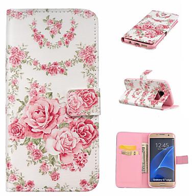 Käyttötarkoitus Samsung Galaxy S7 Edge kotelot kuoret Lomapkko Korttikotelo Tuella Flip Kokonaan peittävä Etui Kukka PU-nahka varten