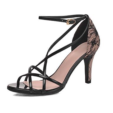 Ženske cipele-Sandale-Vjenčanje / Formalne prilike / Zabava i večer-Umjetna koža-Stiletto potpetica-Štikle-Crna / Bijela