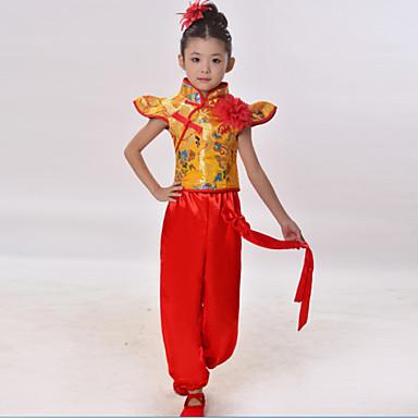 Dječji-Outfits- zaNarodni plesovi(Crvena / žuta,Matte Satin,Aplikama)