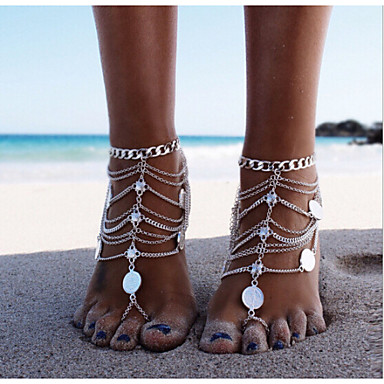 voordelige Dames Sieraden-Dames Enkelring Blote voeten sandalen voeten sieraden Meerlaags stapelbaar Dames Gepersonaliseerde Uniek ontwerp Europees Bikini Zilver Enkelring Sieraden Zilver Voor Kerstcadeaus Dagelijks Causaal