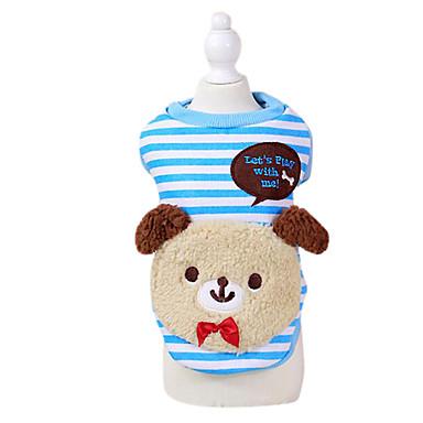 강아지 후드 강아지 의류 스트라이프 / 동물 레드 / 블루 면 코스츔 애완 동물 남성용 / 여성용 패션