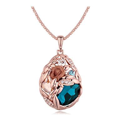 Krystall Anheng Halskjede - Krystall Enkel, Klassisk Søtt Mørkeblå, Gylden Halskjeder Smykker Til