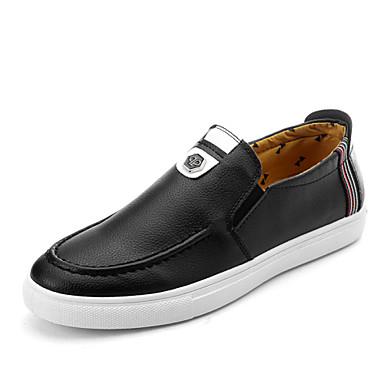 Sneakers-Læder-Komfort-Herre-Sort Hvid Orange-Udendørs Fritid Sport-Flad hæl