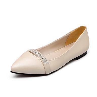 Mulheres Sapatos Courino Primavera Verão Conforto Saltos Caminhada Sem Salto Dedo Apontado Presilha para Social Preto Bege Roxo Rosa claro