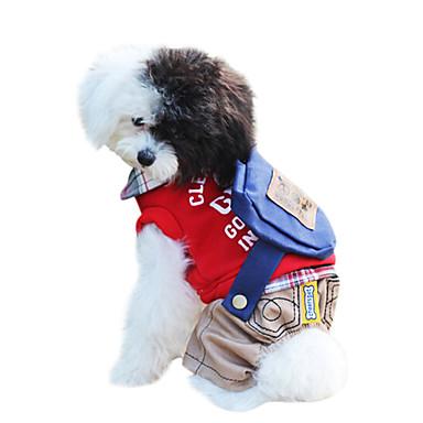 כלב סרבלים בגדים לכלבים Keep Warm אופנתי מכתב ומספר אדום ירוק תחפושות עבור חיות מחמד