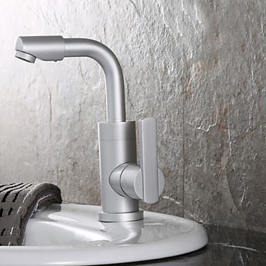 Moderni Integroitu Pyörivä with  Keraaminen venttiili Yksi kahva yksi reikä for  Nickel Brushed , Kylpyhuone Sink hana