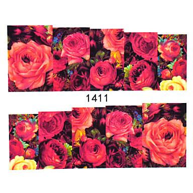 30 נייל ארט מדבקה העברת מים מדבקה פרח חמוד קוסמטיקה איפור נייל אמנות עיצוב