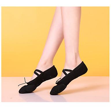 Homens / Mulheres Sapatilhas de Balé Algodão / Cetim Sola Inteiras Salto Baixo Não Personalizável Sapatos de Dança Preto / Vermelho / Rosa