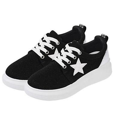נעלי נשים-סניקרס אופנתיים-קנבס-נוחות-שחור / אפור-שטח / קז'ואל-פלטפורמה