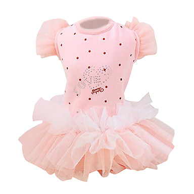 Pas Haljine Odjeća za psa Na točkice Srce Mašna Plava Pink Pamuk Kostim Za kućne ljubimce Žene Princeza Moda