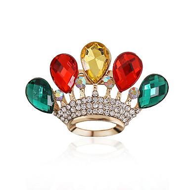 Dame Nåler - Strass, Fuskediamant Dråpe, Krone Luksus, Europeisk Brosje Rød / Grønn / Regnbue Til Bryllup / Fest / Daglig