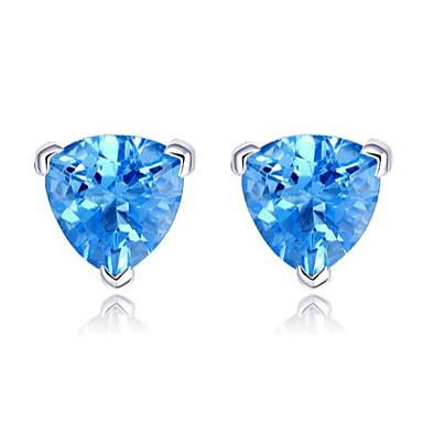 עגילי טיפה תכשיטי יוקרה ארופאי מצופה כסף חיקוי יהלום כחול תכשיטים ל חתונה Party יומי קזו'אל 2pcs