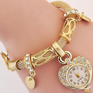 cheap Quartz Watches-Women's Ladies Luxury Watches Bracelet Watch Wrist Watch Vintage Style Silver / Gold Imitation Diamond Beautiful and elegant Analog Charm Vintage Heart shape Casual Bohemian - Gold Silver One Year