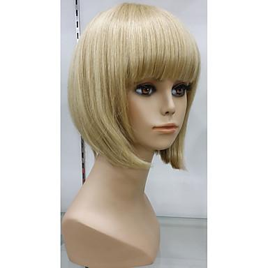 Human Hair Capless Parykker Rett / Klassisk Ekte hår Parykk Kort Lokkløs