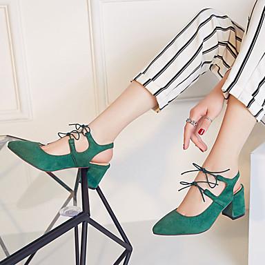 Naiset Kengät Tekonahka Kevät Kesä Syksy Paksu korko Block Heel Solmittavat varten Kausaliteetti Puku Musta Punainen Vihreä