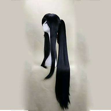 halpa Rooliasu peruukki-Synteettiset peruukit / Pilailuperuukit Suora Tyyli Otsatukalla Suojuksettomat Peruukki Musta Musta Synteettiset hiukset Naisten Musta Peruukki Pitkä hairjoy Halloween Peruukki