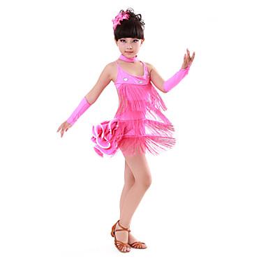 Latino ples Haljine Seksi blagdanski kostimi Pamuk Spandex Kristali / Rhinestones S resicama Bez rukávů Visok Haljina Rukavice Neckwear