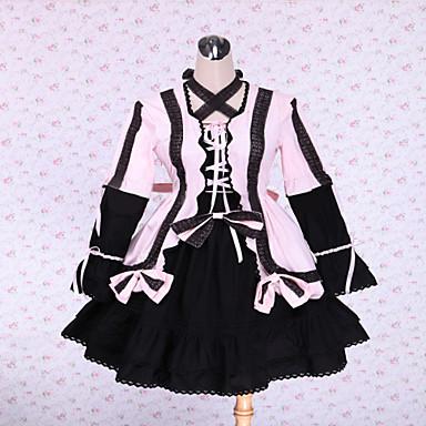 /שמלותחתיכה אחת לוליטה גותי לוליטה קלאסית ומסורתית Steampunk® Cosplay שמלות לוליטה אחיד שרוול ארוך אורך קצר שמלה ל תחרה כותנה