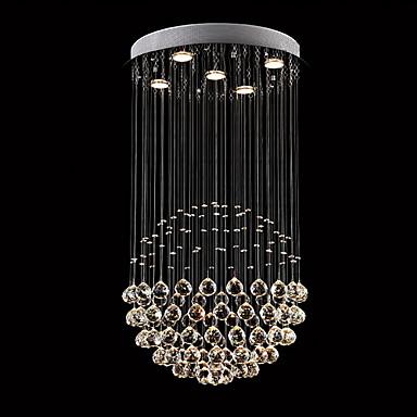 5 świateł Kryształ Żyrandol Downlight Galwanizowany Metal Kryształ, LED 110-120V / 220-240V Ciepła biel / Chłodna biel Zawiera żarówkę / GU10