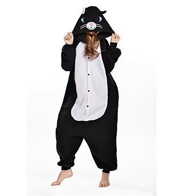 Kigurumi Pajamas Cat Onesie Pajamas Costume Polar Fleece Black Cosplay For Animal Sleepwear Cartoon Halloween Festival / Holiday